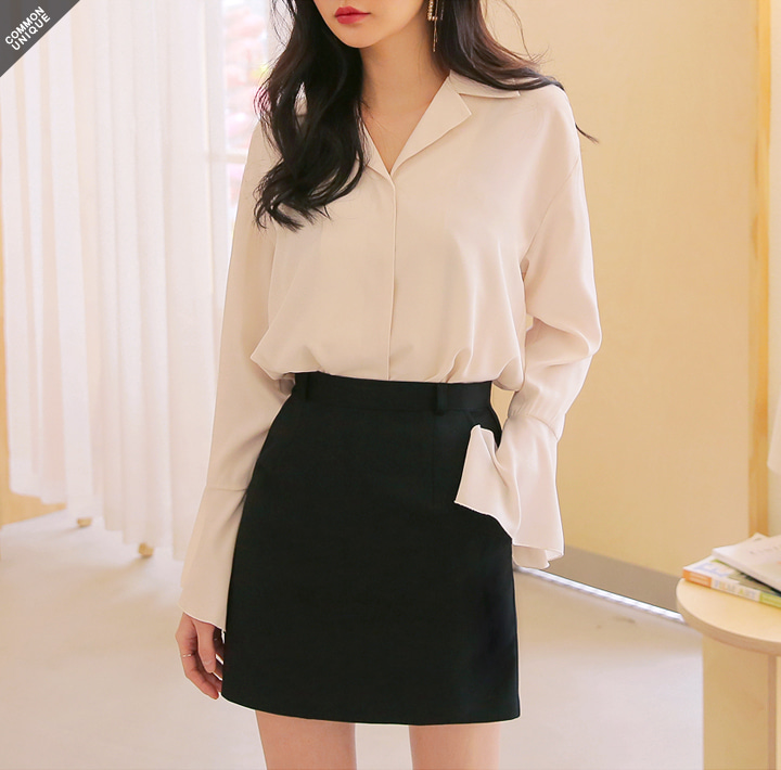 [TOP] BELLO CUFFS SLIT BLOUSE WITH CELEBRITY _ 김소연 착용