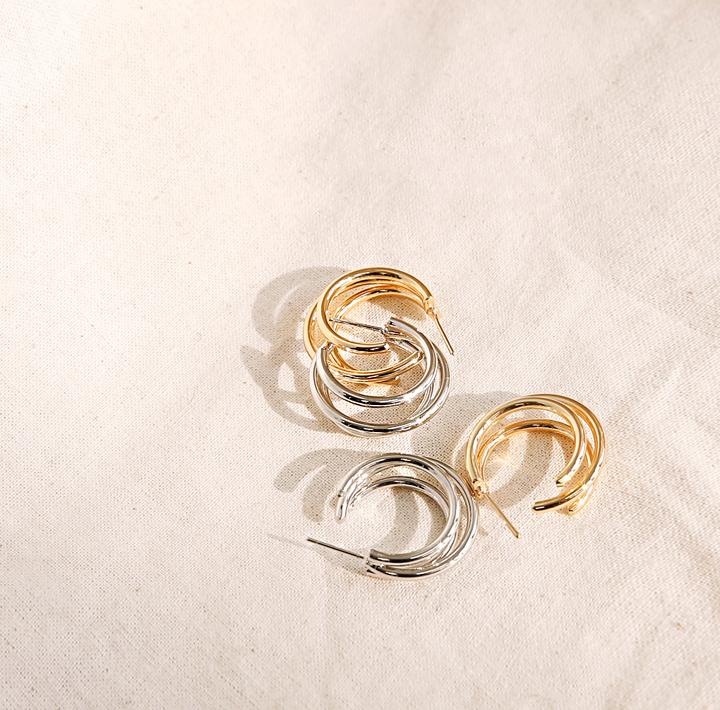 [JEWELRY] SIMPLE 3 RING EARRING