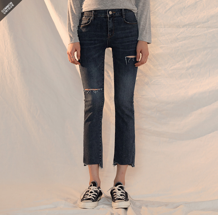 [BOTTOM] CLOUD DAMAGE DENIM PANTS