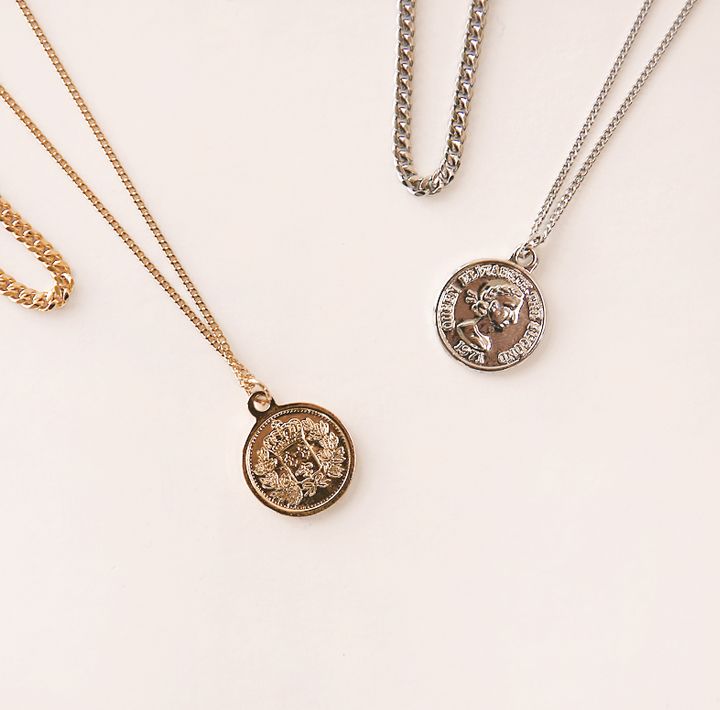 [JEWELRY] COIN 2 CHAIN LAYERED NECKLACE