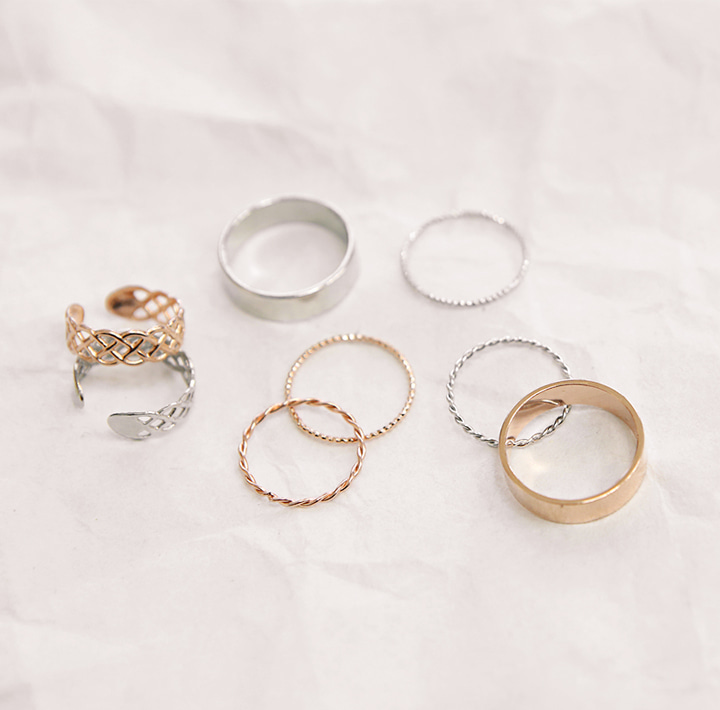 [JEWELRY] DAILY SIMPLE RING 4 SET