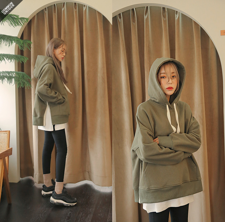 [TOP] BURNING BOXY SLIT COTTON HOOD TWITH CELEBRITY _  한지민, 하지원 착용