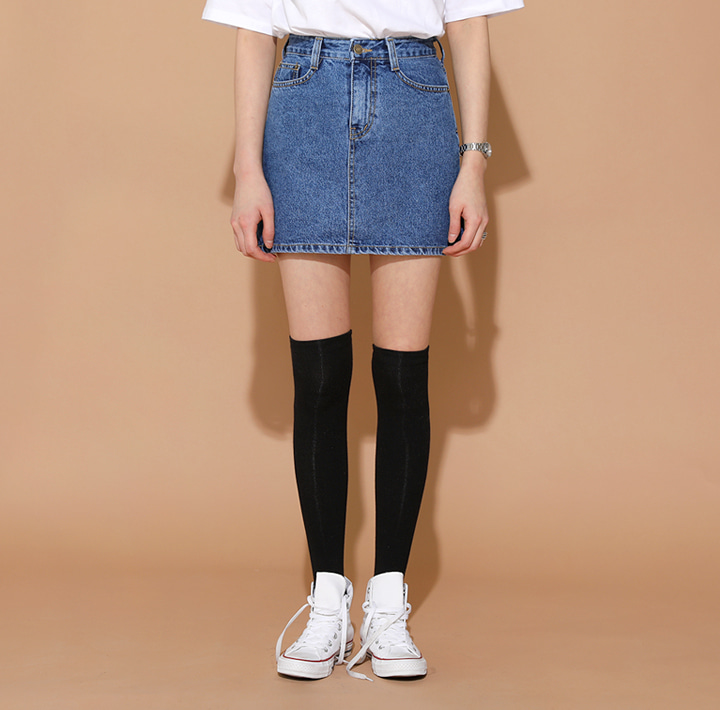 [SKIRT] HIGH A LINE DENIM MINI SKIRT