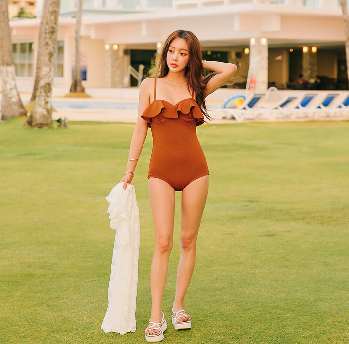 [SWIM WEAR] FLOW RUFFLE SWIMSUIT