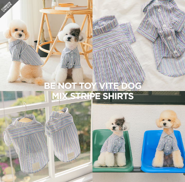 [BE NOT TOY] VITE DOG MIX STRIPE SHIRTS
