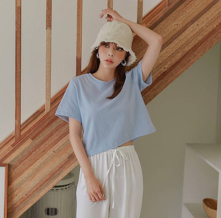 [TOP] 5 COLOR ALAN COTTON CROP 1/2 T