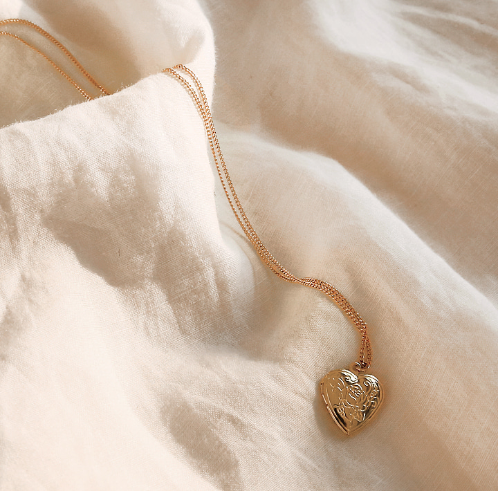 [JEWELRY] ROSHE GOLD ROSE HEART NECKLACE