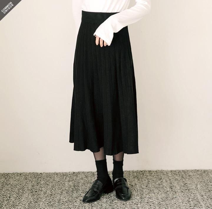 [SKIRT] KNIT PLEATS MIDI SKIRT