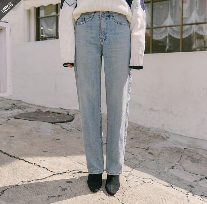 [BOTTOM] BRIGHT STRAIGHT DENIM PANTS