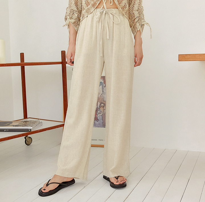 [BOTTOM] LOBBY BANDING WIDE COTTON PANTS