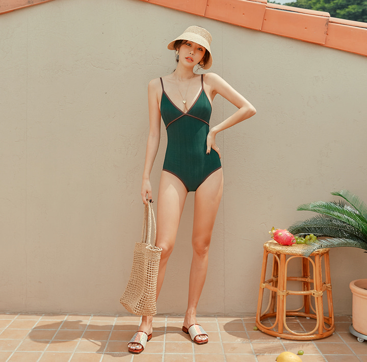 [SWIM WEAR] TELVE GLOSSY GOLGI SWIMSUIT