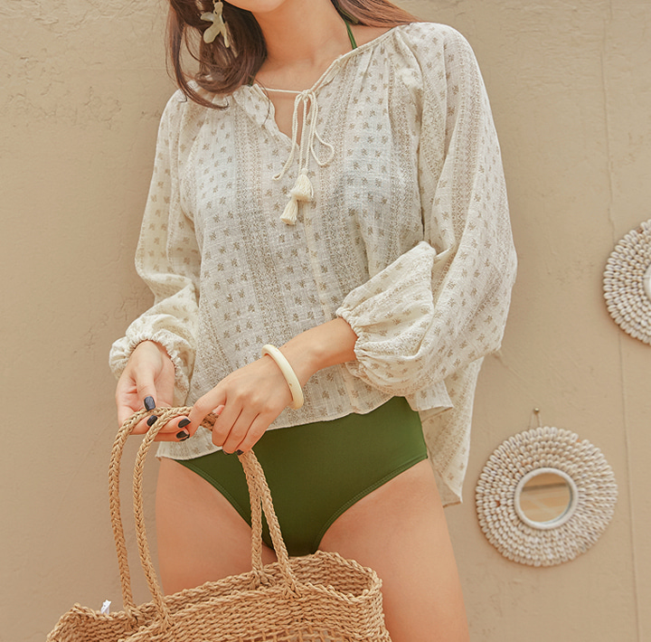 [TOP] NONY ETHNIC TASSEL BALLOON BLOUSE