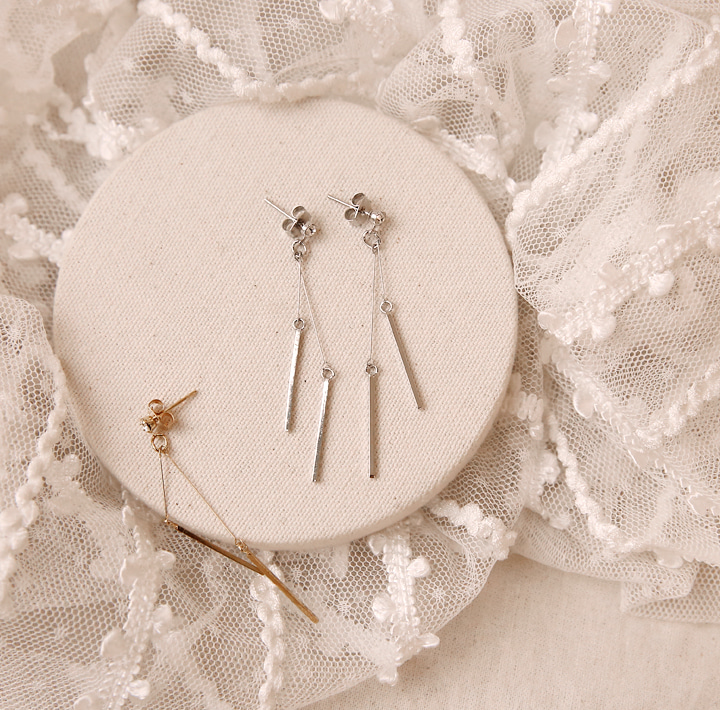 [JEWELRY] LAKE CUBIC STICK DROP EARRING