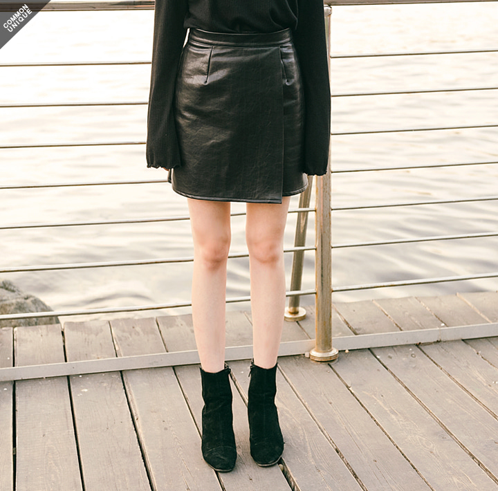 [SKIRT] LEATHER WRAP MINI SKIRT