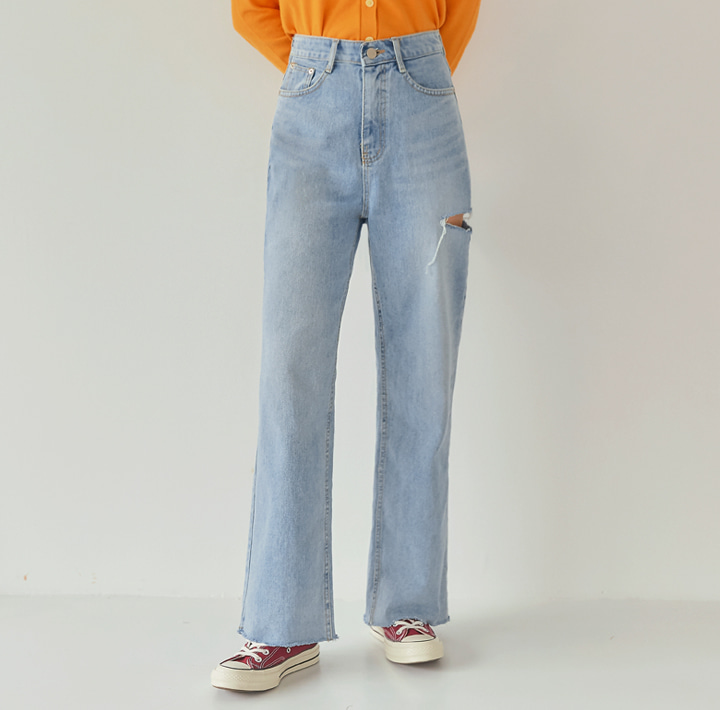 [BOTTOM] HILO DAMAGE WIDE DENIM PANTS
