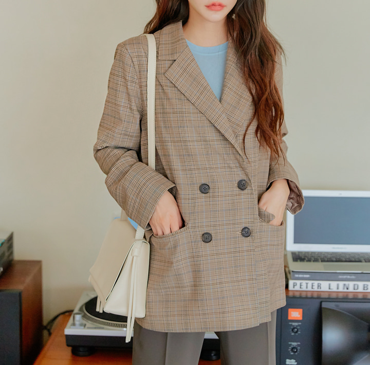 [OUTER] ELMORE CHECK DOUBLE JACKET
