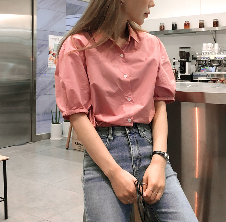 [TOP] FLINT ROLL UP PUFF 1/2 BLOUSE