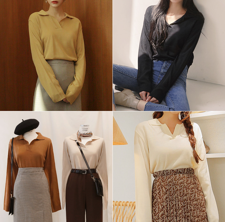 [TOP] 6 COLOR PICK COLLAR KNIT
