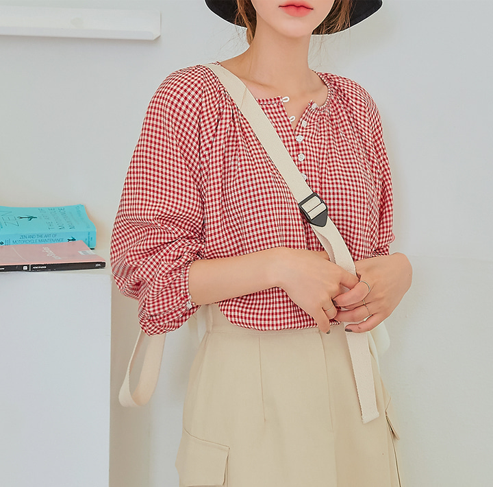 [TOP] ALISO GINGHAM CHECK BUTTON BLOUSE