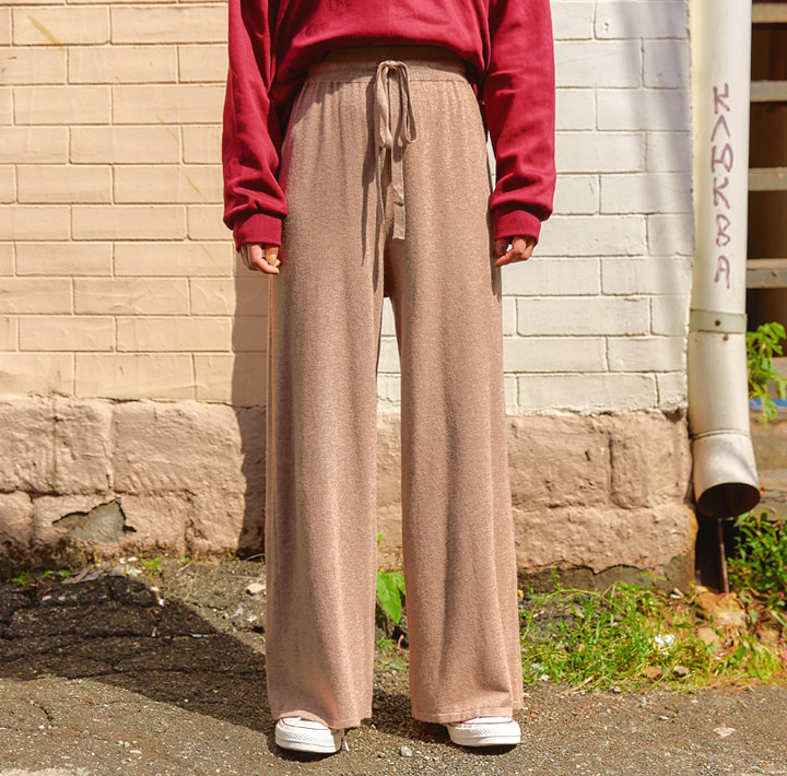 [BOTTOM] PEEKABOO CASH WIDE KNIT PANTS