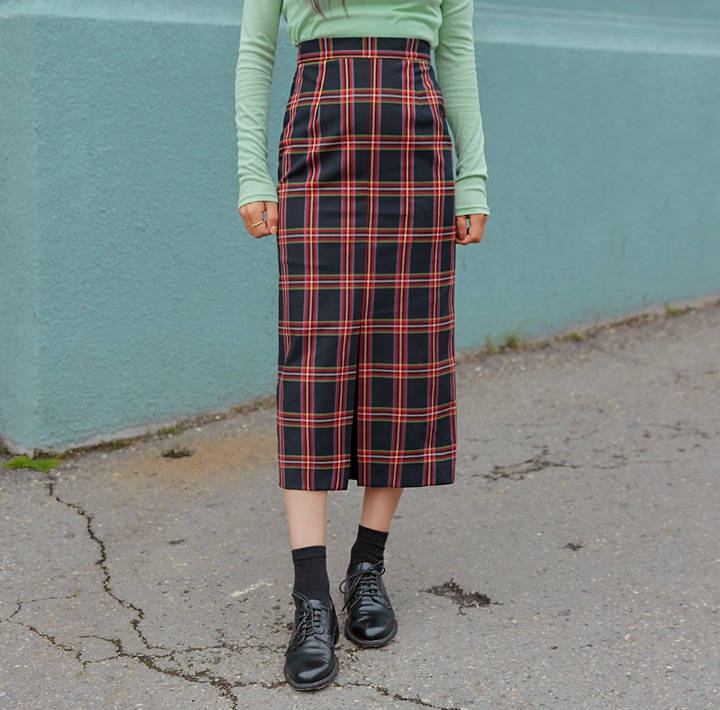 [SKIRT] MARTHA CHECK SLIT LONG SKIRT