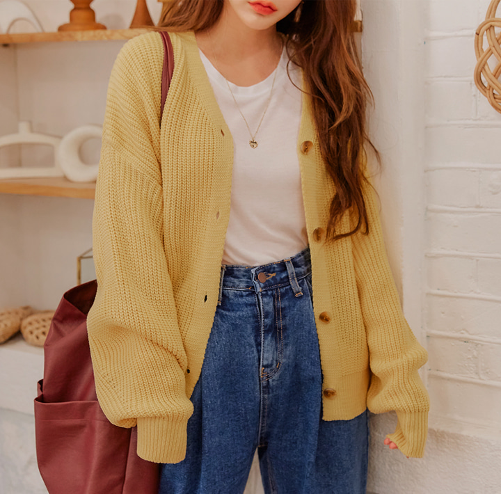 [OUTER] MANONG BALLOON KNIT CARDIGAN