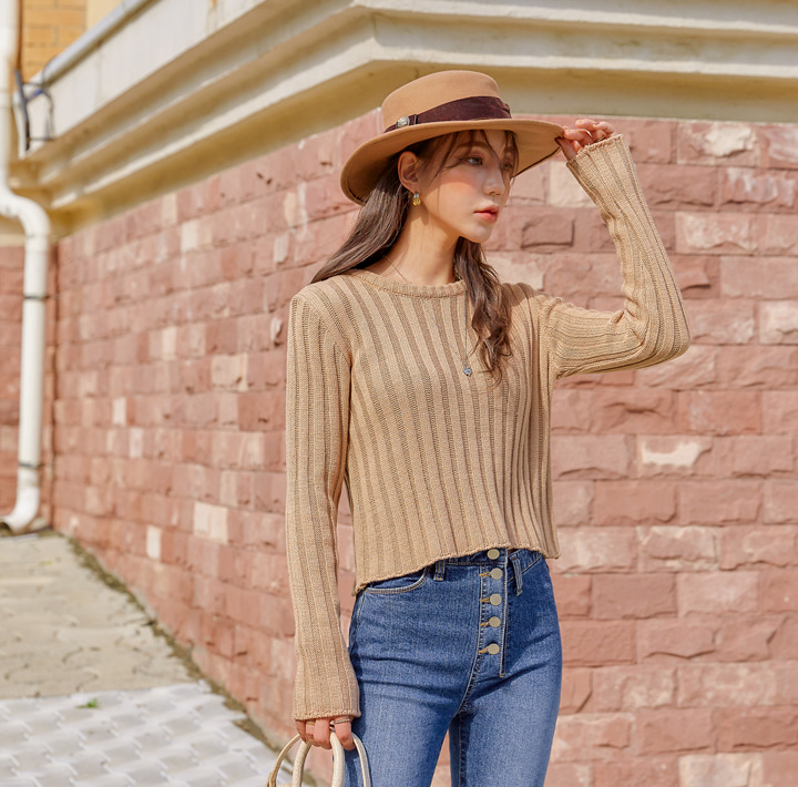 [TOP] LINED GOLGI ROUND NECK CROP KNIT