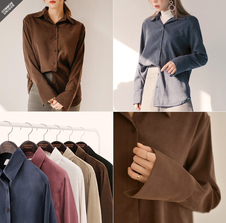 [TOP] PRENTER PEACH CUFFS UNBAL SHIRTS