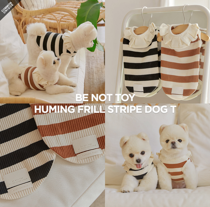 [BE NOT TOY] HUMING FRILL STRIPE DOG T