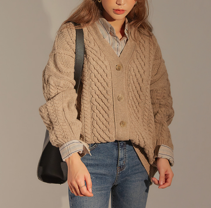 [OUTER] MOG LAMBSWOOL 50% KNIT CARDIGAN