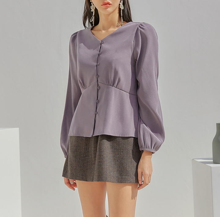 [TOP] LIENNA PEACH BUTTON V NECK BLOUSE