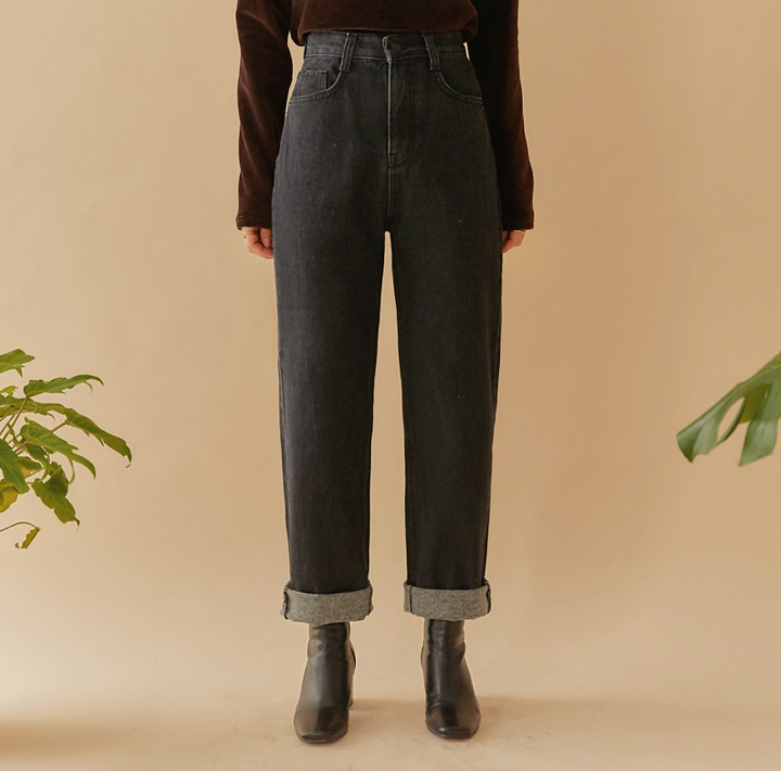 [BOTTOM] NAPPING ROLL UP WIDE DENIM PANTS