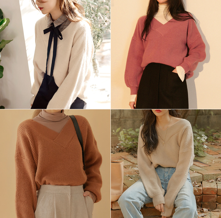 [TOP] ANGORA V NECK KNIT