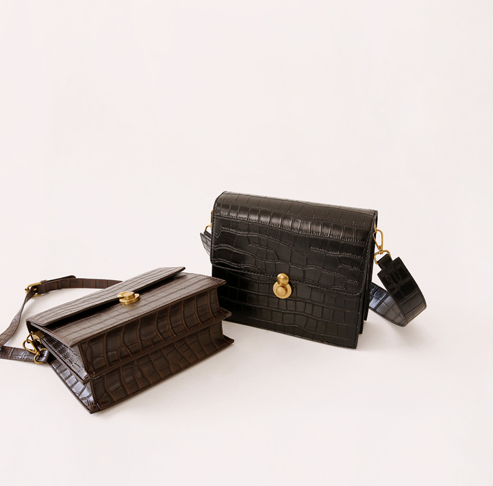 [BAG] 2 WAY CROCODILE SQUARE LEATHER BAG