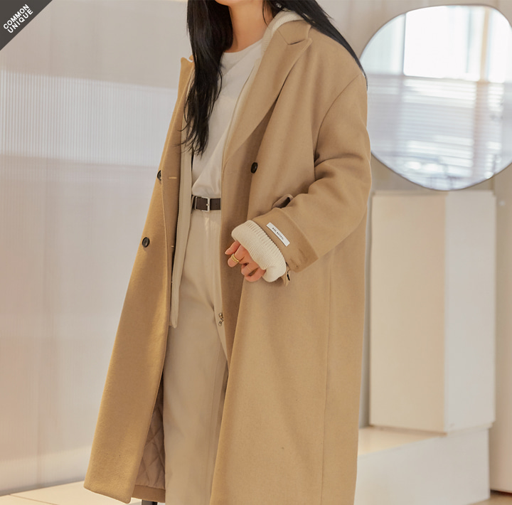 [OUTER] WOOL 50% DOUBLE LONG COAT