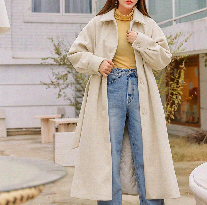 [OUTER] ANDA WOOL 40% STRAP LONG COAT