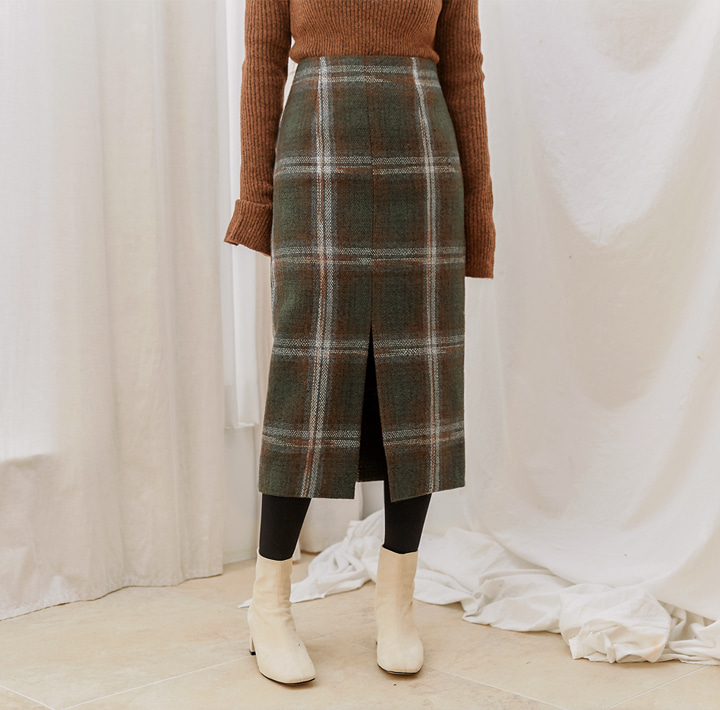 [SKIRT] ORLY TWEED CHECK SLIT LONG SKIRT