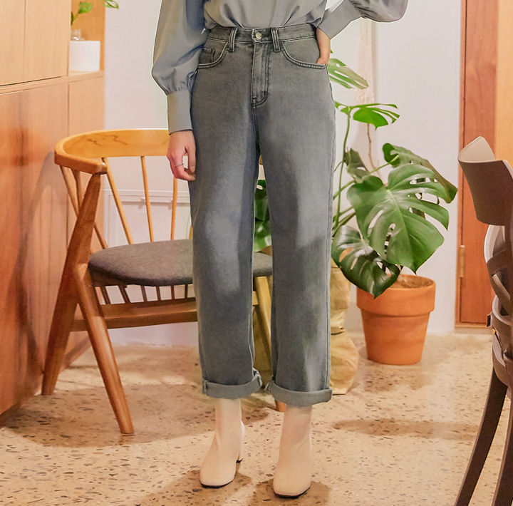 [BOTTOM] VOYDI ROLL UP WIDE DENIM PANTS