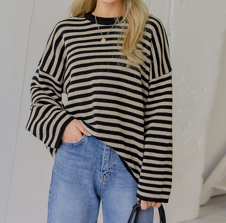 [TOP] LAMBSWOOL 60% STRIPE ROUND KNIT