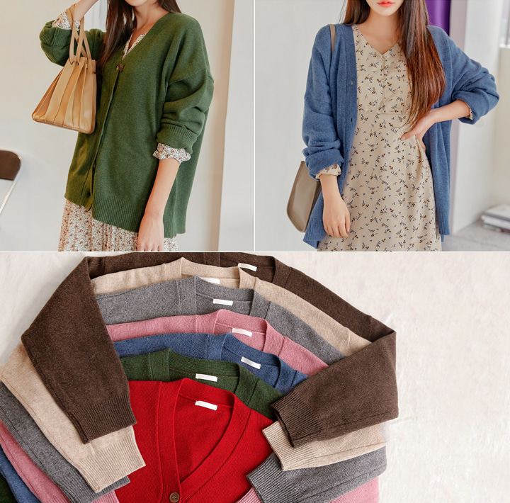 [OUTER] RATON WOOL 50% KNIT CARDIGAN