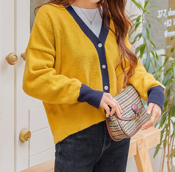 [OUTER] WINTI COLORING KNIT CARDIGAN