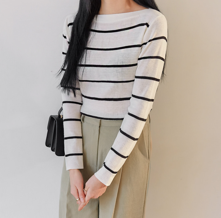 [TOP] MERIZ STRIPE BOAT NECK KNIT