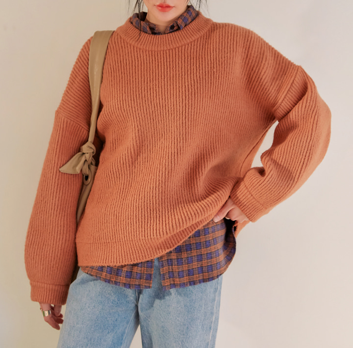 [TOP] BOTTI BALLOON ROUND NECK KNIT