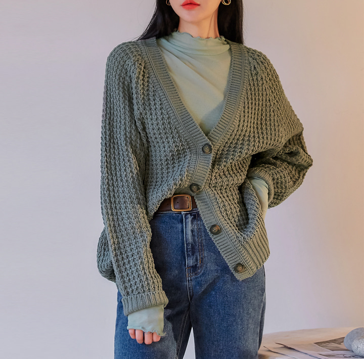 [OUTER] WAINES V NECK KNIT CARDIGAN