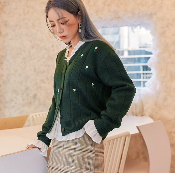 [OUTER] COLLY FLOWER NEEDLE KNIT CARDIGAN