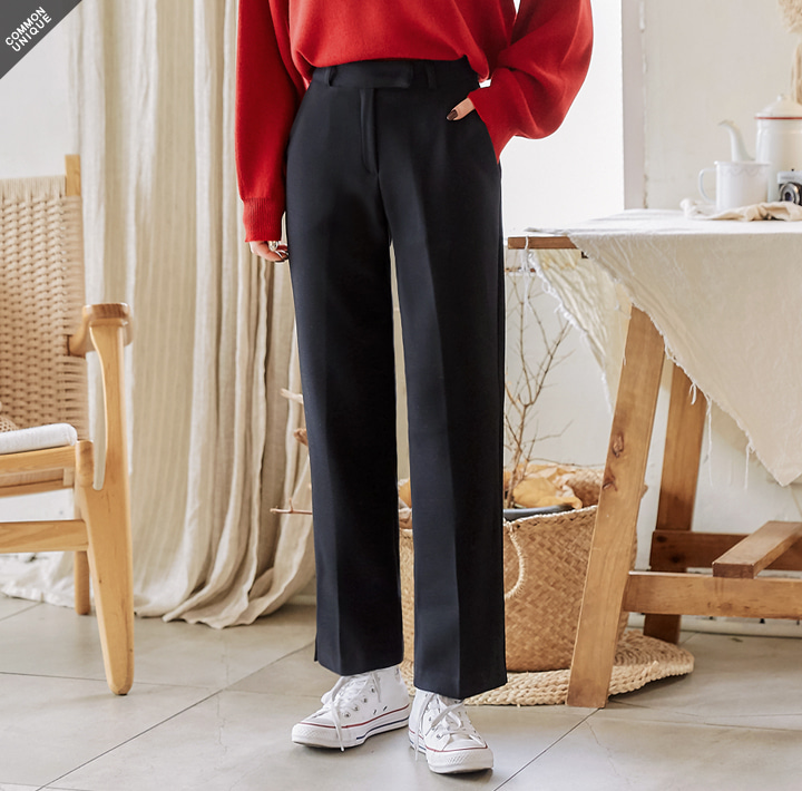 [BOTTOM] STRAIGHT ANKLE SLIT SLACKS