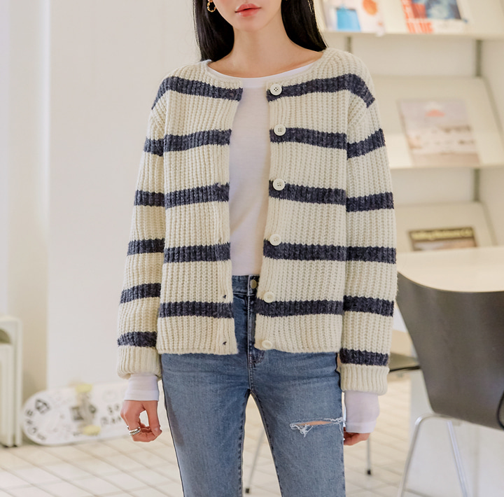 [OUTER] BERNARD STRIPE KNIT CARDIGAN