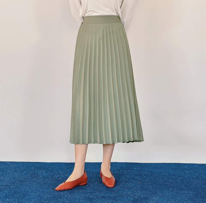 [SKIRT] FLOD PLEATS BANDING LONG SKIRT