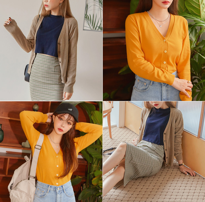 [OUTER] 8 COLOR CASH BASIC KNIT CARDIGANWITH CELEBRITY _  김유정 착용