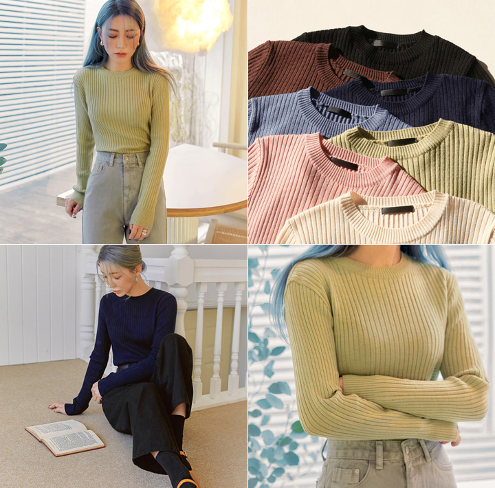 [TOP] RENSO GOLGI ROUND NECK KNIT